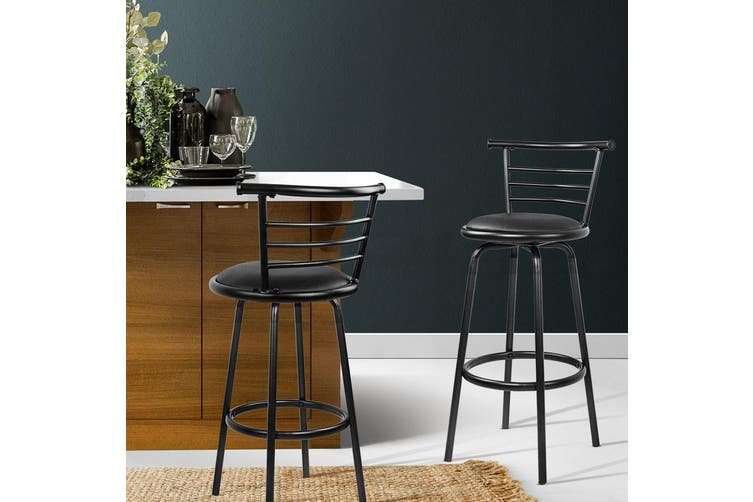 Artiss 2x Bar Stools PU Leather Bar Stool Swivel Backrest Kitchen Chairs Black