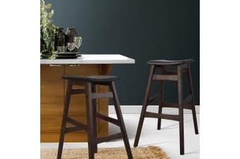 Artiss 2x Rubber Wood Bar Stools Wooden Bar Stool Dining Chairs Kitchen Black