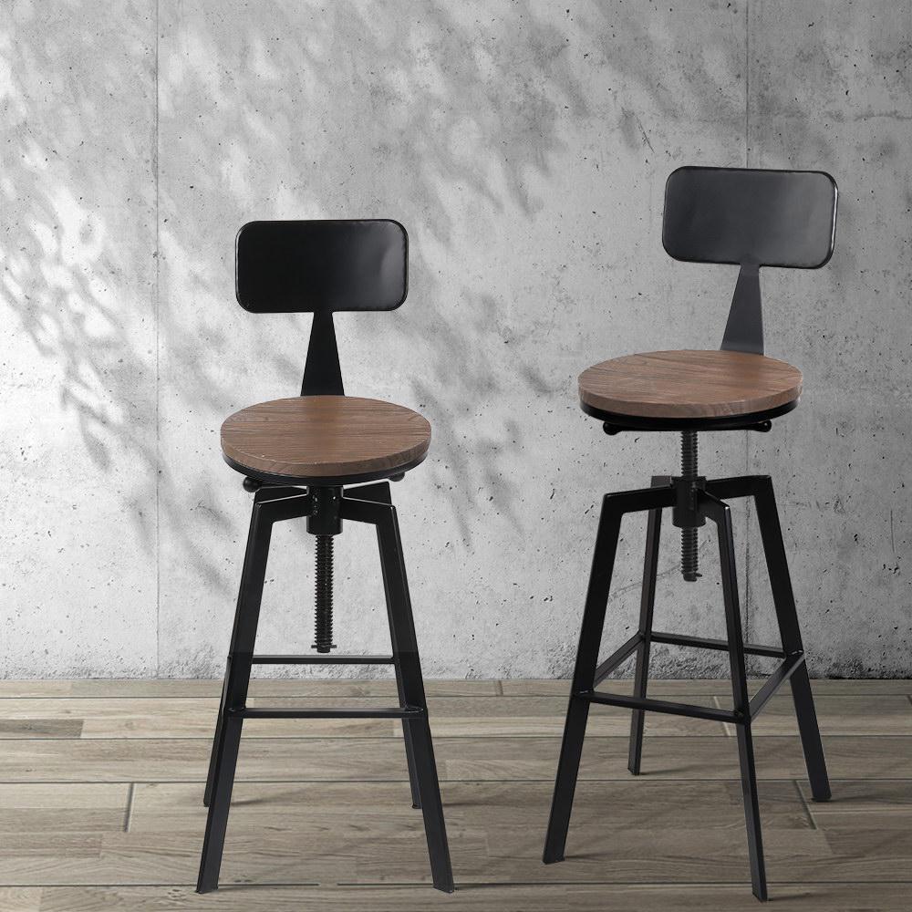 Picture of: Artiss 1x Vintage Bar Stools Retro Kitchen Bar Stool Industrial Chairs Rustic Matt Blatt