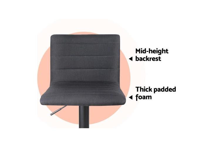 Artiss 2x Bar Stools Fabric Kitchen Cafe Swivel Bar Stool Chair Gas Lift Black