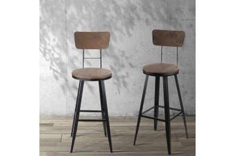 Artiss Vintage Rustic Bar Stools Retro Swivel Bar Stool Industrial Chairs 76cm