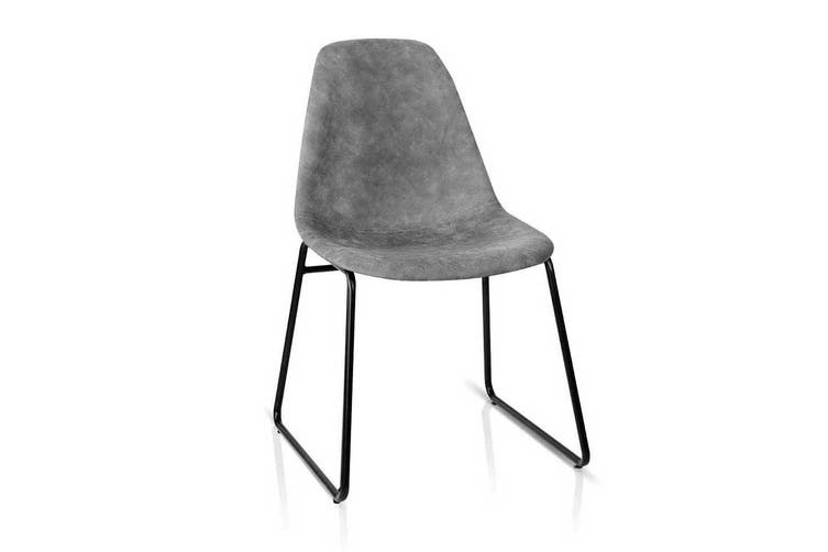 Artiss 2x Eames Dining Chairs Retro Replica Chair DSW PU Leather Vintage Grey