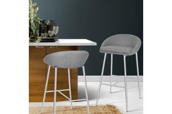 Artiss 2x Bar Stools Fabric Bar Stool Kitchen Dining Chairs Chrome Legs Grey