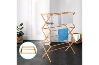 Artiss Clothes Airer Rack Coat Towel Dryer Foldable Bamboo Hanger Clothes Horse Laundry Stand