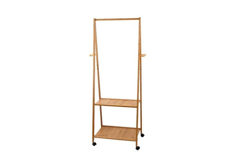 Artiss Clothes Rack Coat Garment Stand Portable Bamboo Rail Clothes Horse Hanger Airer