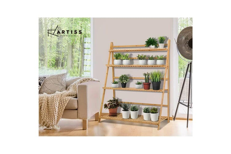 Artiss Plant Stand Indoor Tier Tiers Bamboo Frame Foldable Folding Shelf Shelves Outdoor Ladder Storage