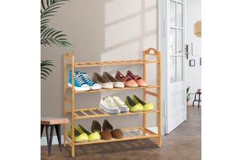 Artiss 4 Tiers Bamboo Shoe Rack Storage Organiser Wooden Shelf Stand Shelves