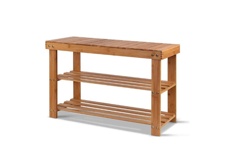 Artiss 3 Tier Shoe Rack Bamboo Wooden Storage Shelf Stand Bench Cabinet Organize