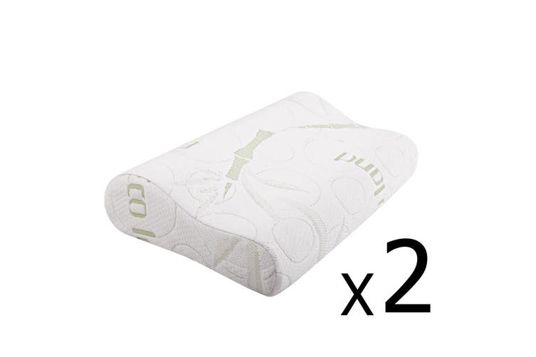 Giselle Bedding Bamboo Pillow set Memory Foam Pillows Contour w/Cover Twin Pack Hotel Home