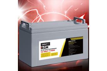 Giantz 170Ah Deep Cycle Battery 12V AGM Marine Sealed Power Portable Box Solar Caravan Camping