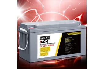 Giantz 200Ah Deep Cycle Battery 12V AGM Marine Sealed Power Portable Box Solar Caravan Camping