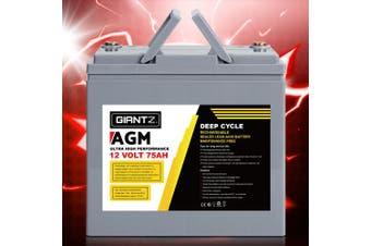 Giantz 75Ah Deep Cycle Battery 12V AGM Marine Sealed Power Portable Box Solar Caravan Camping