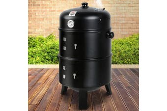 Grillz Outdoor BBQ Grill Smoker Portable Charcoal Roaster 3in1 Thermometer