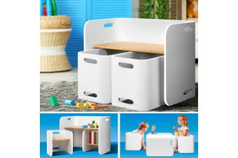 Keezi 3PC Kids Table and Chairs Set Toys Play Desk Children Shelf Storage White