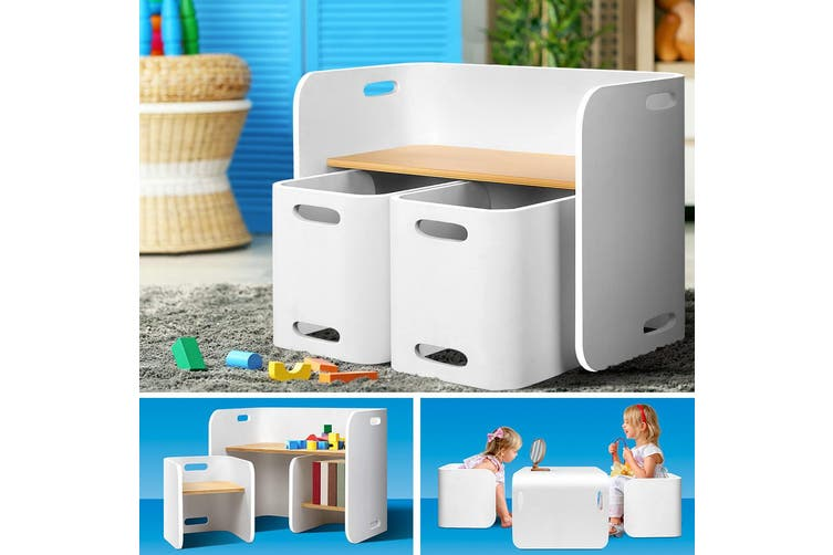 Keezi 3PC Kids Table and Chairs Set Toys Play Desk Children Shelf Storage White