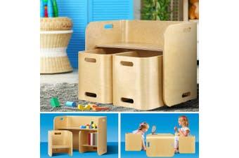 Keezi 3PC Kids Table and Chairs Set Toys Play Desk Children Shelf Storage Beige