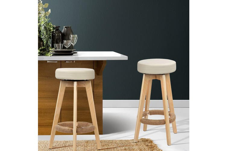 Artiss 2x Kitchen Bar Stools Wooden
