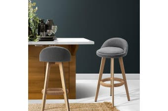 Artiss 2x Kitchen Bar Stools Wooden Stool Chairs Barstools Fabric Grey