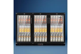 Devanti Bar Fridge 3 Glass Door Commercial Display Freezer Drink Beverage Cooler Black