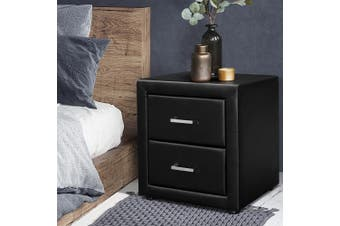 Artiss Bedside Tables Drawers Side Table Leather Storage Cabinet Nightstand Lamp