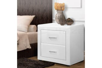 Artiss Bedside Tables Drawers Side Table Leather Cabinet Nightstand White Unit