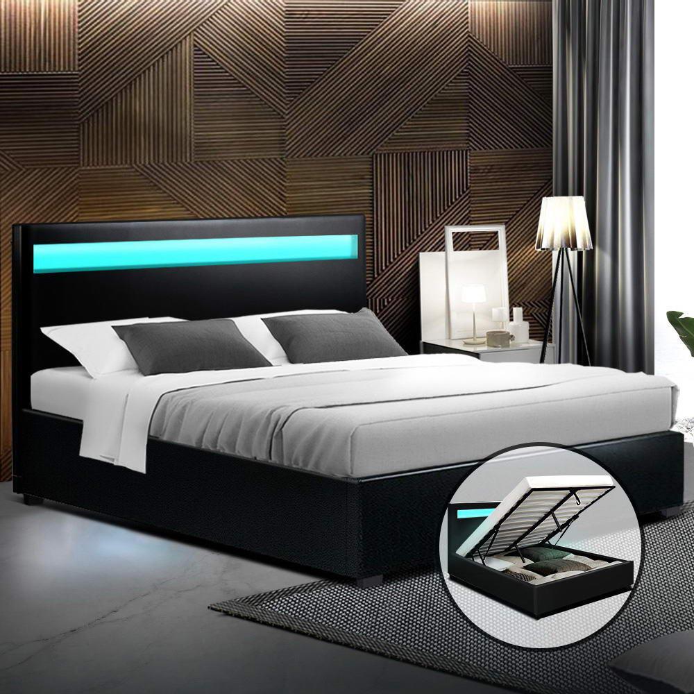 Image of: Artiss Led Bed Frame Double Full Size Gas Lift Base With Storage Black Leather Matt Blatt