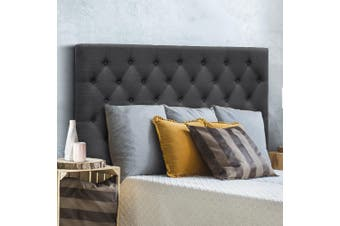 Artiss Upholstered Bed Headboard Double Size Tufted Fabric Bed Head Frame  Base Charcoal