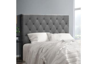 Artiss Upholstered Bed Headboard King Single Size Tufted Fabric Bed Head Base CAPPI Grey