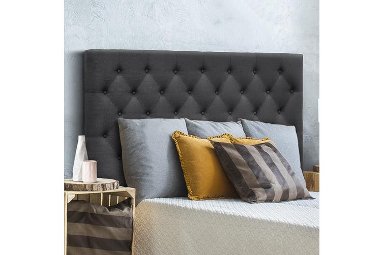 Artiss Upholstered Bed Headboard Queen Size Bed Tufted Fabric Bed Head  Base Charcoal