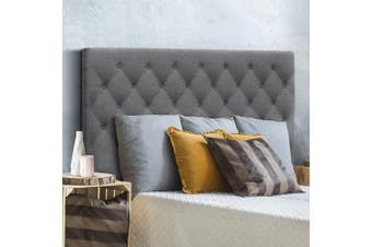 Artiss Upholstered Bed Headboard Queen Size Bed Tufted Fabric Bed Head Base CAPPI Grey