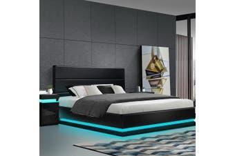 Artiss RGB LED Bed Frame Double Full Size Gas Lift Base Storage Black Leather LUMI