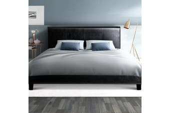Artiss Double Full Size Bed Frame Base Mattress Leather Wooden Black NEO