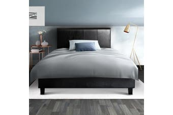 Artiss Single Size Bed Frame Base Mattress Platform Leather Wooden NEO