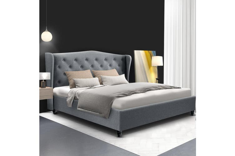 Artiss Queen Size Bed Frame Base Mattress Platform Fabric Wooden Grey PIER