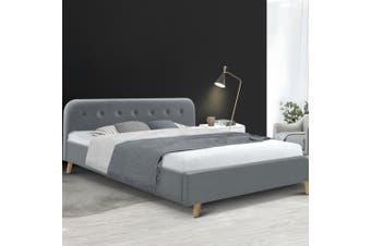 Artiss King Size Bed Frame Base Mattress Fabric Wooden Grey POLA