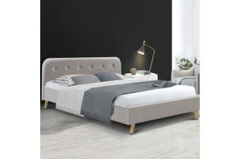 Artiss Queen Size Bed Frame Base Mattress Fabric Wooden Beige POLA