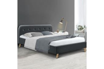 Artiss Queen Size Bed Frame Base Mattress Fabric Wooden Charcoal POLA