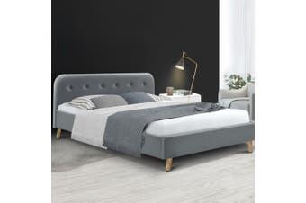Artiss Queen Size Bed Frame Base Mattress Fabric Wooden Grey POLA