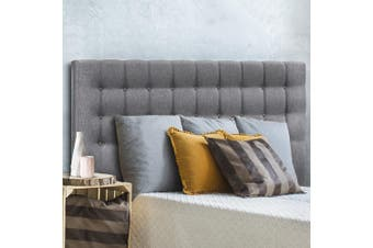 Artiss Upholstered Bed Headboard King Size Bed Tufted Fabric Bed Head Base RAFT Grey