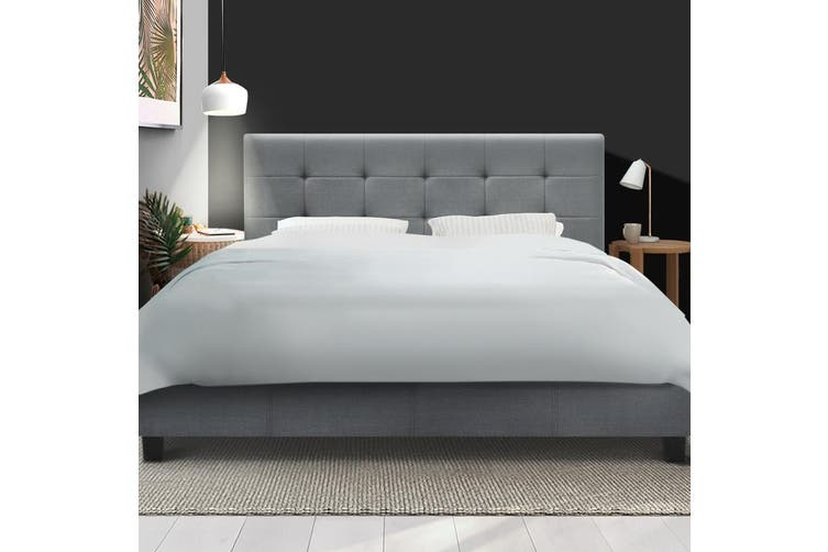 Artiss Queen Size Bed Frame Base Mattress Platform Fabric Wooden Grey SOHO