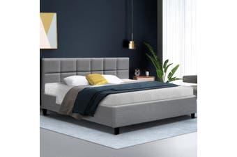 Artiss King Size Bed Frame Base Mattress Platform Fabric Wooden Grey TINO