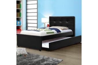Artiss King Single Size Bed Frame Base Mattress Trundle Leather Wooden