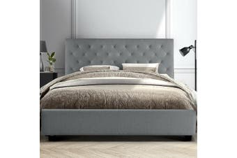 Artiss King Size Bed Frame Base Mattress Platform Fabric Wooden Grey VAN