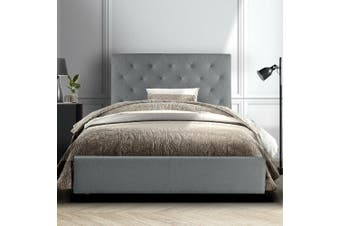 Artiss Single Size Bed Frame Base Mattress Platform Fabric Wooden Grey VAN