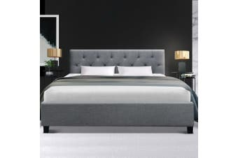 Artiss Double Full Size Bed Frame Base Mattress Fabric Wooden Grey VANKE