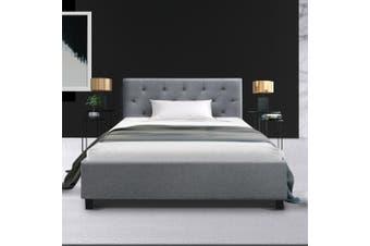Artiss King Single Size Bed Frame Base Mattress Fabric Wooden Grey VANKE