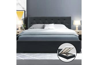 Artiss Double Full Size Gas Lift Bed Frame Base With Storage  Fabric