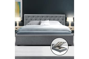 Artiss King Gas Lift Bed Frame Base With Storage Mattress Fabric WARE