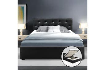 Artiss King Single Gas Lift Bed Frame Base With Storage  Leather WARE