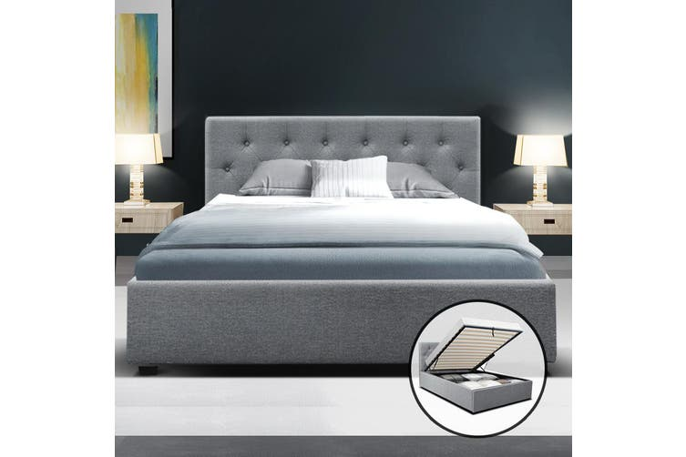 Artiss King Single Gas Lift Bed Frame Base With Storage  Fabric WARE